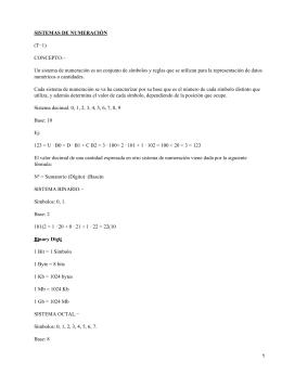 SISTEMAS DE NUMERACIÓN (T−1) CONCEPTO.−