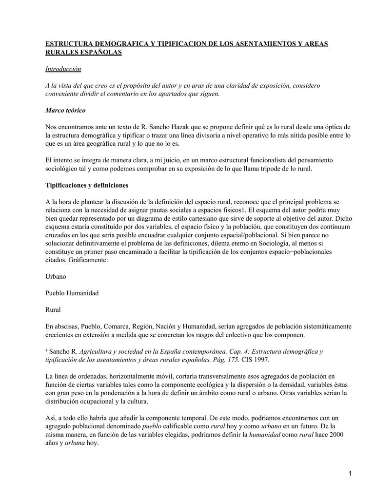 Sociología Asentamientos Y Areas Rurales Españolas