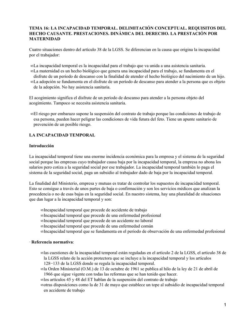 TEMA 16: LA INCAPACIDAD TEMPORAL. DELIMITACIÓN CONCEPTUAL ...