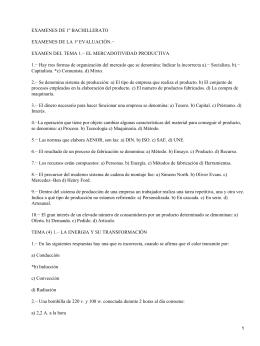 EXAMENES DE 1º BACHILLERATO EXAMENES DE LA 1ª EVALUACIÓN.−
