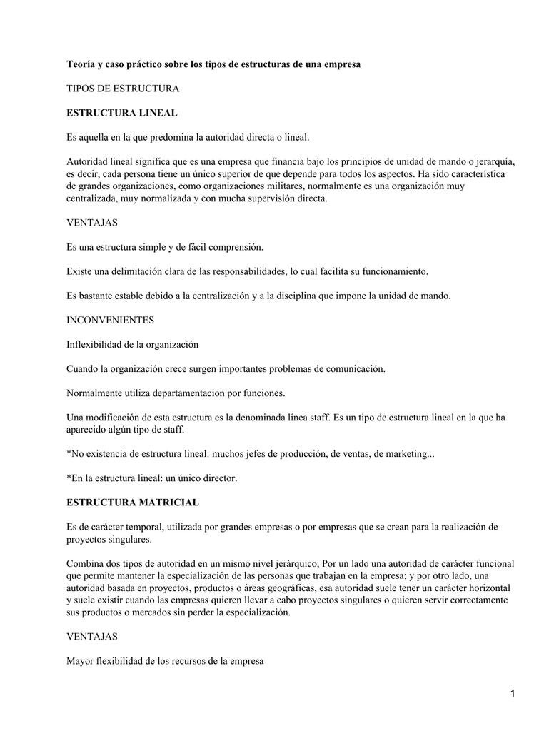 Tipos De Estructuras De Una Empresa