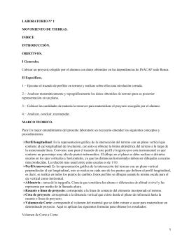 LABORATORIO Nº 1 MOVIMIENTO DE TIERRAS. INDICE INTRODUCCIÓN.