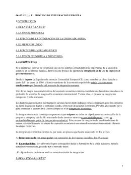 06−07 UE (1): EL PROCESO DE INTEGRACION EUROPEA 1.INTRODUCCION