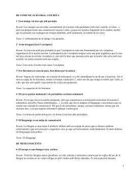 DE COMUNICACIÓ ORAL I ESCRITA Resum: