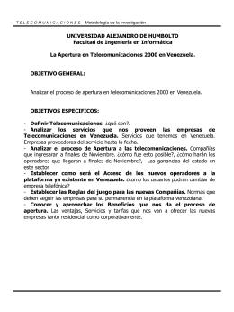 Apertura proceso telecomunicaciones en Venezuela