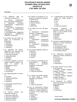 POLITÉCNICO MAYOR ANDINO EXAMEN FINAL DE BIOLOGÍA GRUPO 8 B