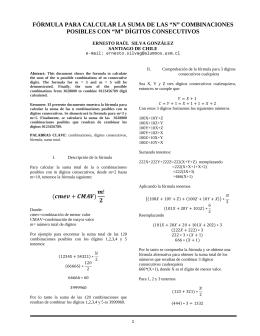 Calcular sumas de n combinaciones posibles con m dígitos consecutivos