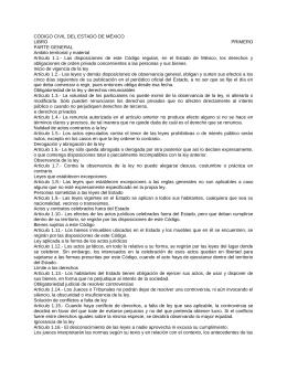 CÓDIGO CIVIL DEL ESTADO DE MÉXICO LIBRO PRIMERO PARTE GENERAL