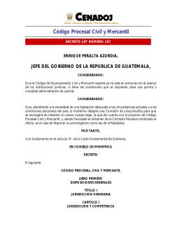 Código procesal, civil y mercantil de la república de Guatemala