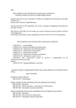 Decreto 2413/1973 de 20 septiembre, de Reglamento Electrotécnico para Baja Tensión