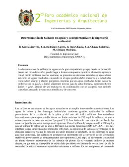 Determinación de Sulfatos en aguas y su importancia en la Ingeniería ambiental