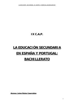 Educación Secundaria en España y Portugal. El bachillerato