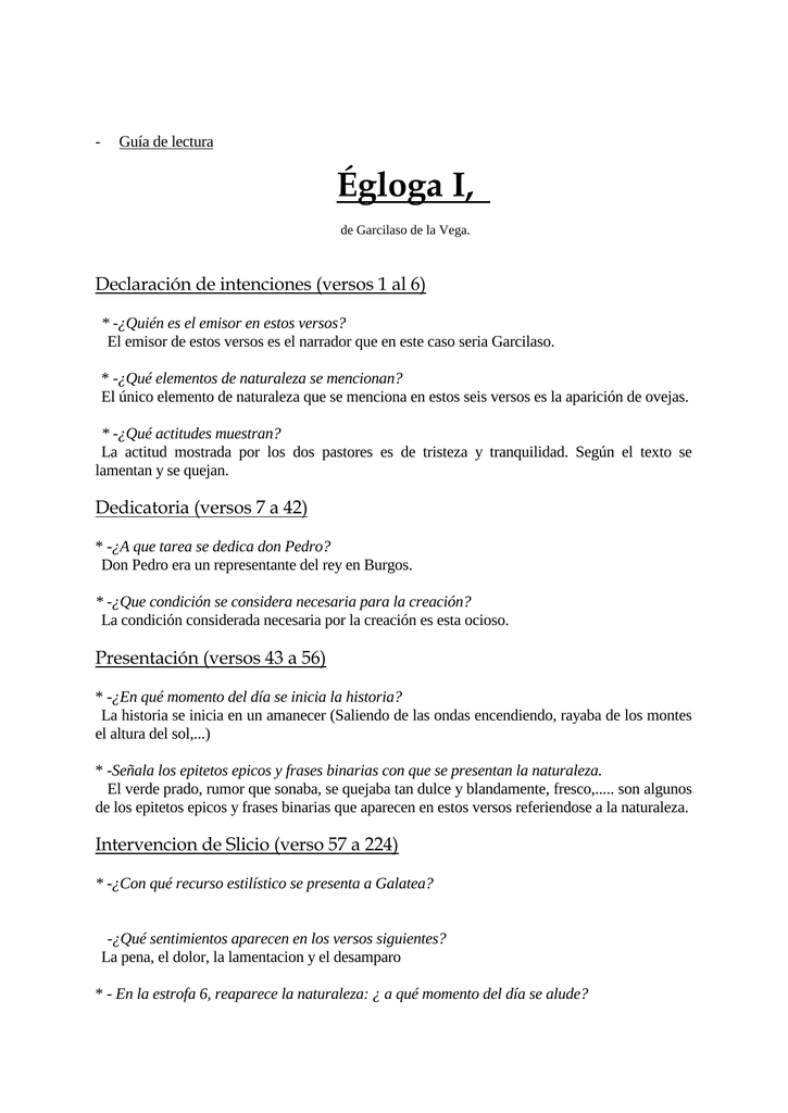égloga I Declaración De Intenciones Versos 1 Al 6
