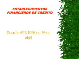 Establecimientos financieros de crédito