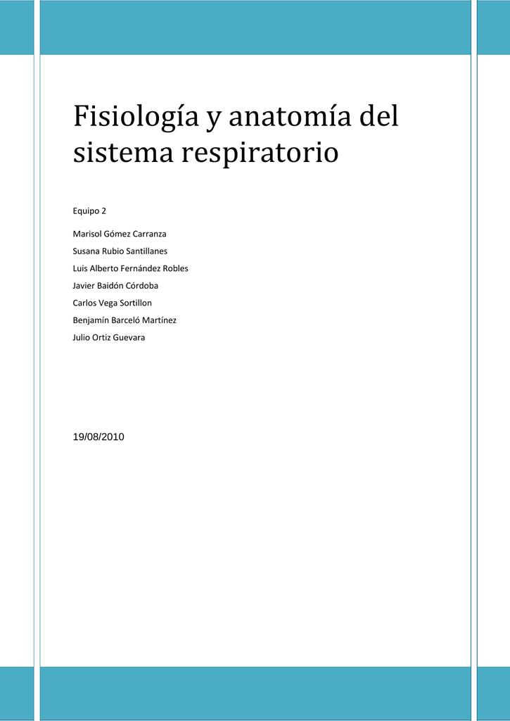 Fisiología y anatomía del sistema respiratorio