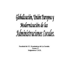 Globalización, Unión Europea y Modernización de las administraciones locales