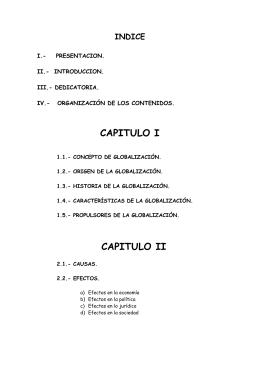 CAPITULO I INDICE  I.-    PRESENTACION.