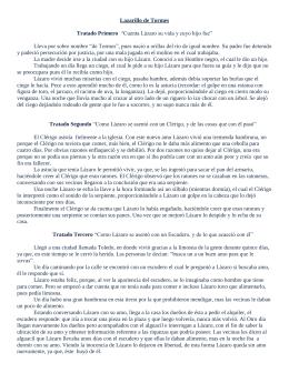 Lazarillo de Tormes  Tratado Primero