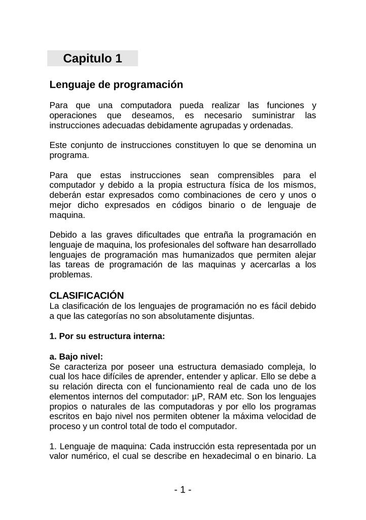 Capitulo 1 Lenguaje De Programación