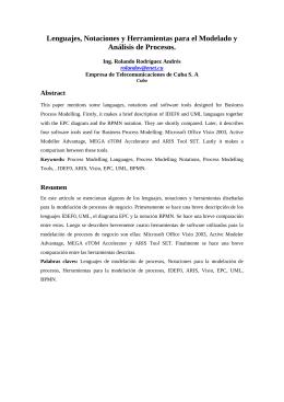 Lenguajes, Notaciones y herramientas para el Modelado y Análisis de Procesos
