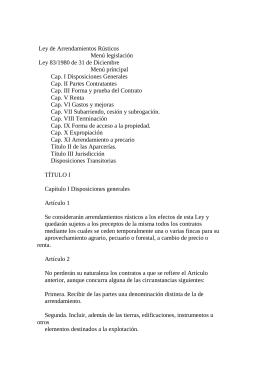 Ley 83/1980 de 31 de Diciembre, de Arrendamientos Rústicos