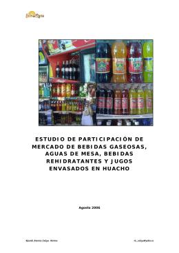 Mercado de bebidas gaseosas, aguas de mesa, bebidas rehidratantes y jugos envasados en Huacho