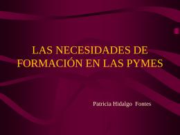 Necesidad de formación de la PYME (Pequeña Y Mediana Empresa)