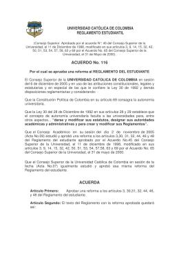 Reglamento Estudiantil de la Universidad Católica de Colombia