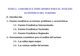 Variables e indicadores para el análisis económico del turismo