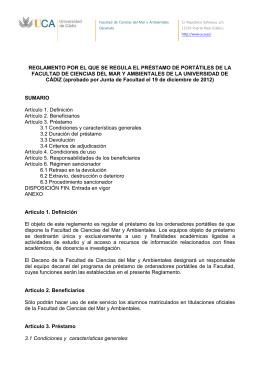 REGLAMENTO POR EL QUE SE REGULA EL PRÉSTAMO DE PORTÁTILES... FACULTAD DE CIENCIAS DEL MAR Y AMBIENTALES DE LA UNIVERSIDAD...