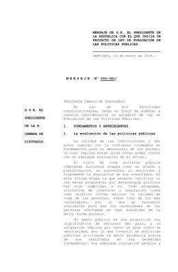 MENSAJE  DE  S.E.  EL  PRESIDENTE ... LA REPUBLICA CON EL QUE INICIA UN