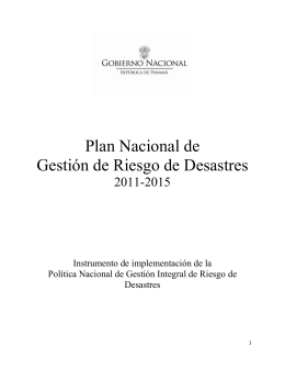 plan nacional de gestion integral de riesgo de