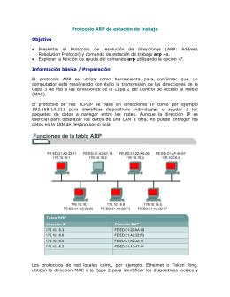 Protocolo ARP de estación de trabajo  Objetivo Información básica / Preparación