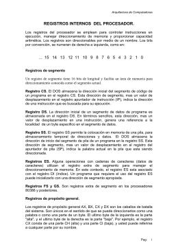 REGISTROS INTERNOS DEL PROCESADOR