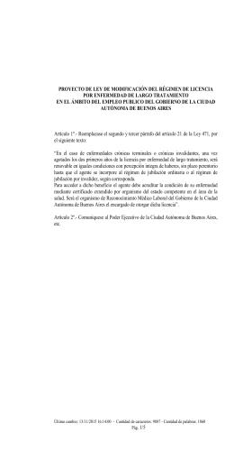 PROYECTO DE LEY DE MODIFICACIÓN DEL RÉGIMEN DE LICENCIA