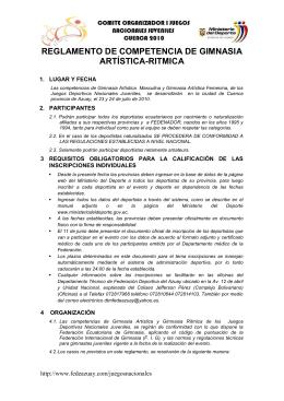 REGLAMENTO DE COMPETENCIA DE GIMNASIA ARTÍSTICA