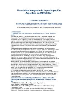 """""""Una visión integrada de la participación Argentina en MINUSTAH""""."""