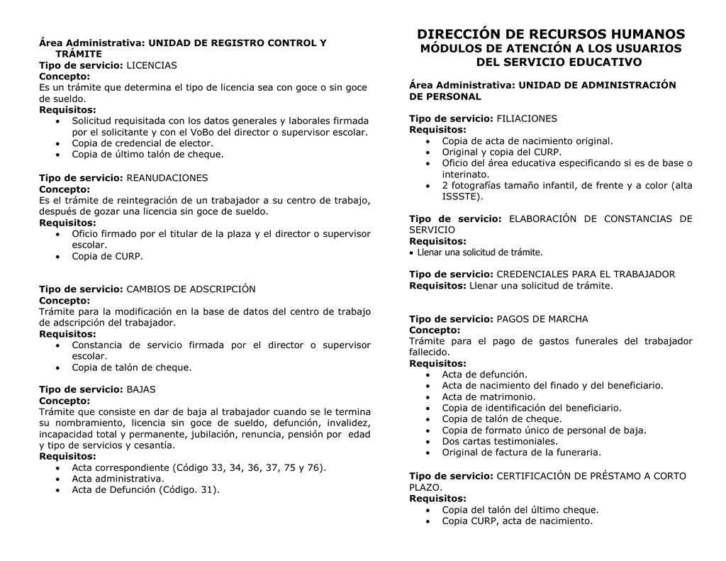 Dirección De Recursos Humanos Servicios Y Trámites