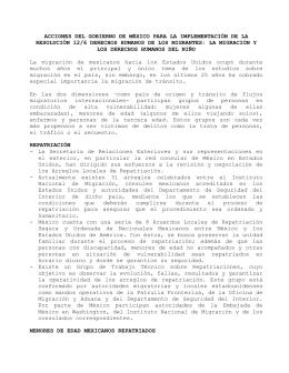 ACCIONES DEL GOBIERNO DE MÉXICO PARA LA