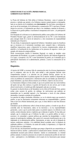 La Pryme del Gobierno de Chile define al Gobierno Electrónico