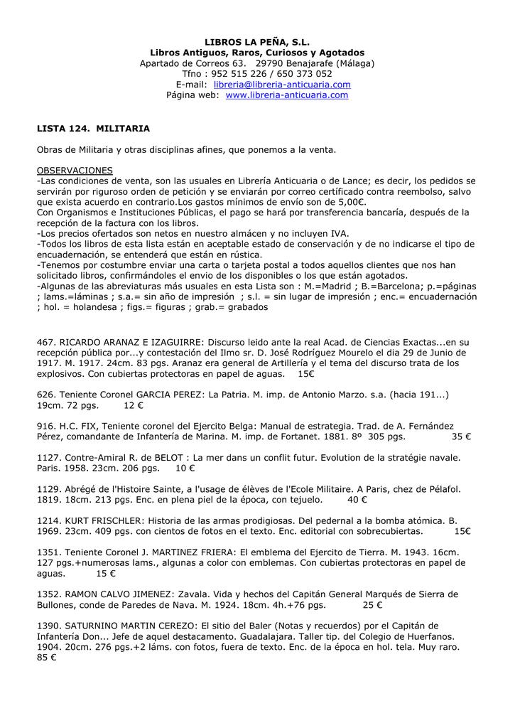 LISTA 124. MILITARIA y otras disciplinas afines