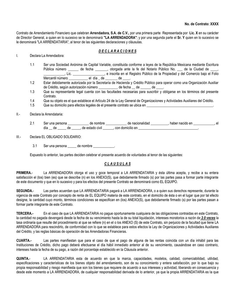 Descargar Modelo de contrato de arrendamiento financiero en DOC