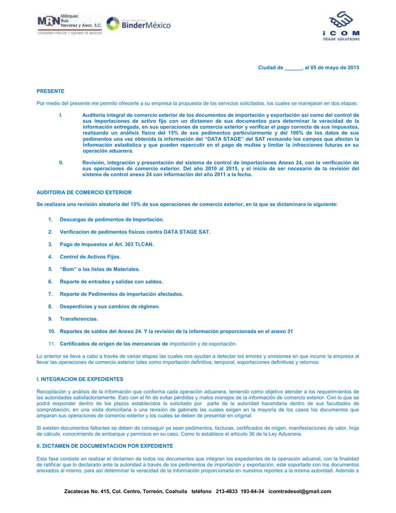 carta propuesta de servicios auditoria aduanera