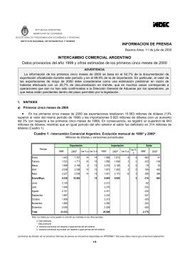 INFORMACION DE PRENSA INTERCAMBIO COMERCIAL ARGENTINO