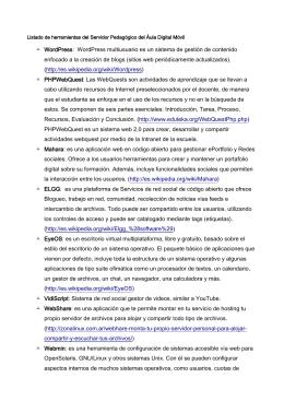 Listado de herramientas del Servidor Pedagógico del Áula Digital