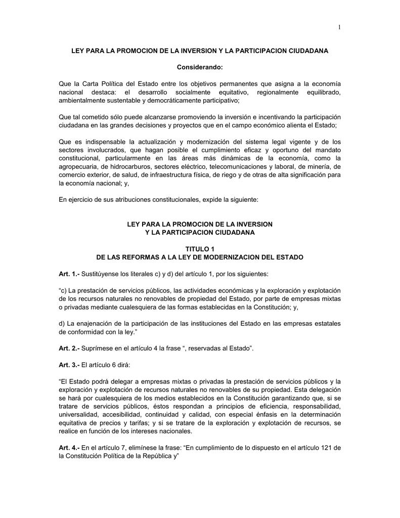 Ley Para La Promocion De La Inversion Y La Participacion