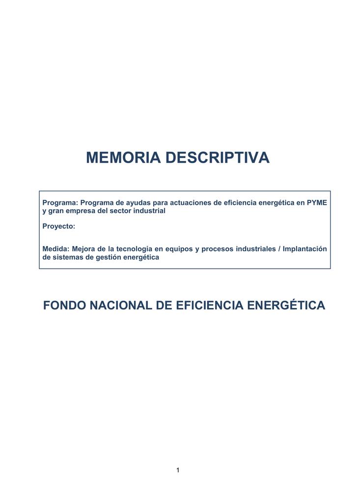 Contenidos m nimos de la memoria descriptiva del proyecto for Memoria empresa