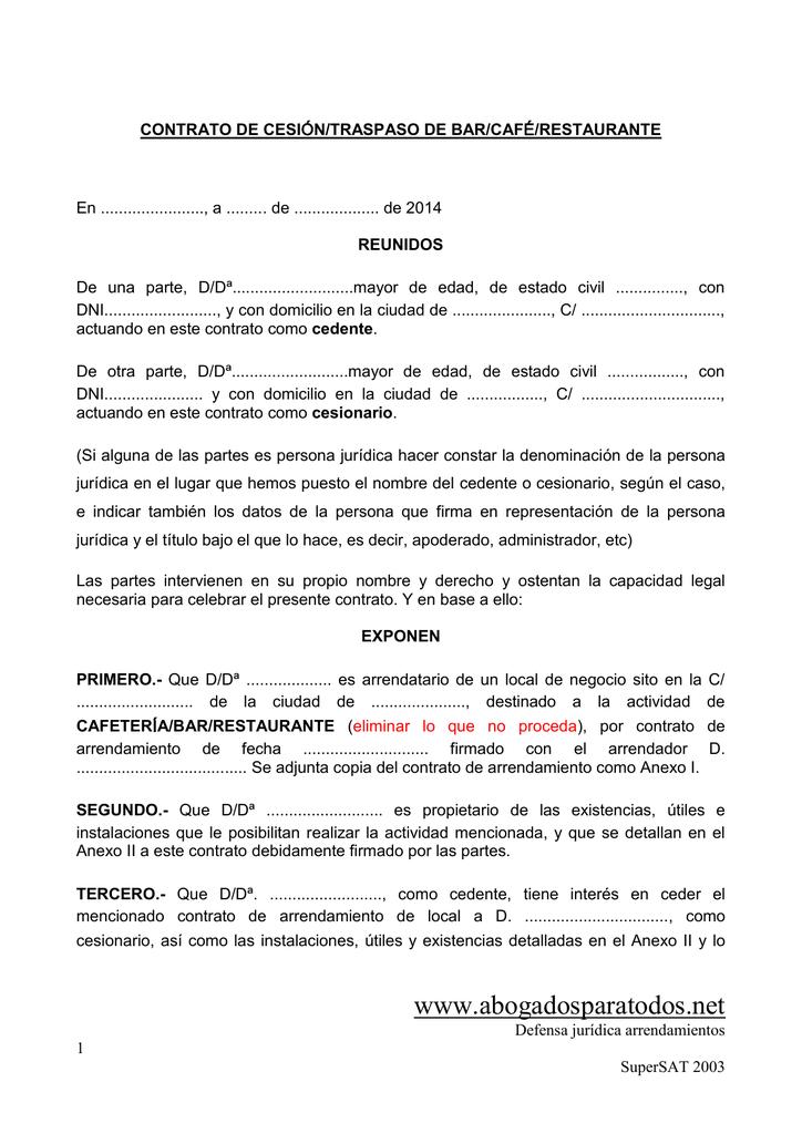 Contrato de traspaso alquiler comercial contratos tattoo design bild - Contrato de alquiler de garaje ...