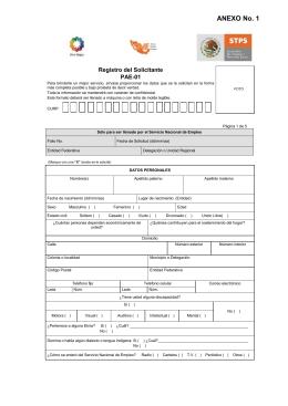 Registro del Solicitante - Secretaría del Trabajo y Previsión Social