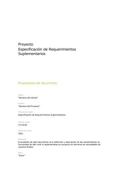Especificación de Requerimientos Suplementarios